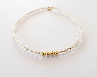 Crystal and Gold Beaded Bracelet | Glass and Gold Filled Beads | Neutral Stacking Bracelet | Aura