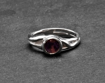 Amethyst Ring, Sterling Silver Purple Amethyst Solitaire Ring, Promise Ring, Cocktail Ring, February Birthstone Ring, Amethyst Jewelry Gift