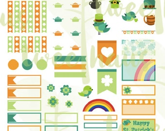 St. Patrick's Day Planner Stickers Printable for Erin Condren Hourly Planner