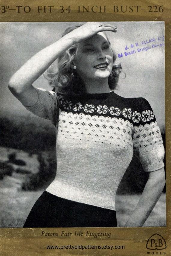 Fair Isle Puffed Sleeve Ladies Jumper Bust 34 Patons 226 Classic ...