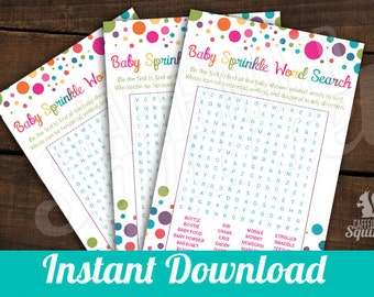 INSTANT DOWNLOAD - Baby Sprinkle Word Search - Baby shower Games, Perfect for Baby Showers, Rainbow, Game, Multi Color, Gender Neutral