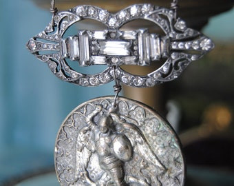 The DragonSlayer--Vintage Saint George Medallion Art Deco Rhinestone Brooch Vintage Coin Bracelet NECKLACE