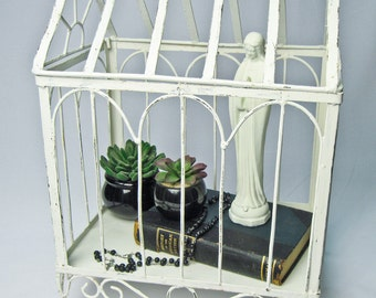 Rustic Iron Display Case French Nordic Decor Hand Painted Distressed Cottage White