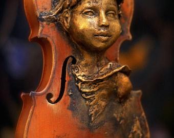 Violin Spirit. Original Sculpture by Award Winning Fae Factory Visionary Artist Dr Franky Dolan (clay & musical instrument wood violin art)