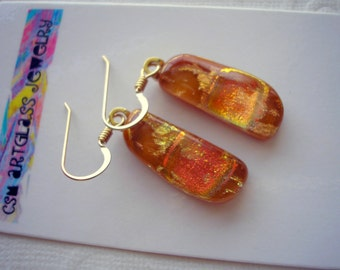 Dichroic Earrings Earthy Brown with Gold and Orange Dichroic Glass Earrings 14K Gold Fused Glass Earrings Brown & Gold Jewellry Dichro