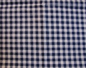 Navy Gingham Fabric Navy Blue and White Gingham - Vintage Cotton Fabric 35 inch wide 1.5 yards