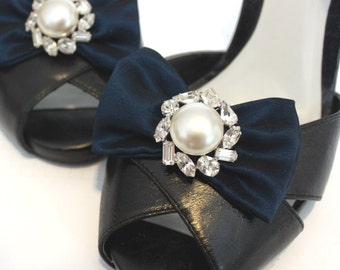 Shoe Clips - Rhinestone Pearl Blue Bows. Shoe Accessories. Handmade. OOAK. Upcycled Componenents.