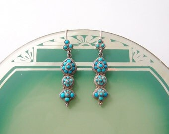 antique Persian Turquoise silver pendant earrings 1800s Georgian Victorian