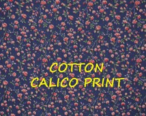 Dark Blue Pink Calico Print, Quilting Cotton Fabric, Floral, Tiny Roses, Flowers, Green Leaves, half yard, B12