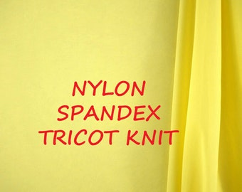 1-1/2 YARDS, TRICOT KNIT Pineapple Yellow, Sheer Wide Fashion Fabric, Lightweight Nylon Spandex, B21