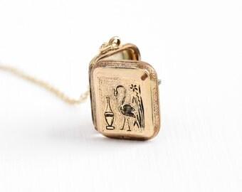 Sale - Antique Victorian Rose Gold Filled Locket Necklace - 1880s Egret Bird & Vase Taille d'Epargne Black Enamel Flower Pendant Jewelry