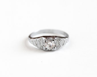 Antique Art Deco Silver Tone Rhinestone Filigree Ring - Vintage Size 7 1930s Simulated Old European Diamond Costume Engagement Style Jewelry