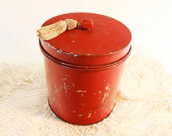 Red Canister with Hinged lid and tassel, vintage