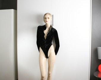 Cosabella Made in Italy Black & Leopard Crushed Velvet Zipper Bodysuit G String Mock Turtleneck Vintage 90s Medium