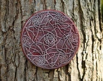 Celtic Star Garden Art Stone Sculpture, Celtic Knot Wall Plaque, Ireland Wall Art, Irish Home Decor, Garden Gift