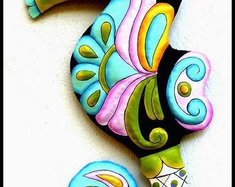 "Seahorse Outdoor Metal Wall Art,  24"" Wall Hanging - Garden Art - Painted Metal Art, Tropical Pool Decor - Beach Decor - M602-PAS-24"
