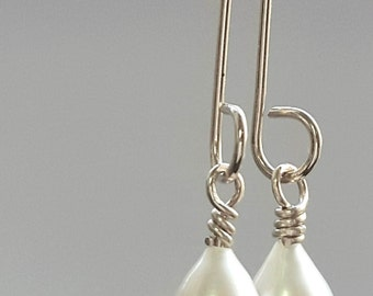 Pearl Sale Drop Pearl Earrings, Bridal Silver Earrings, Dangle Earrings, Handmade Jewelry, Genuine AAA White Pearl, Bridal Earrings