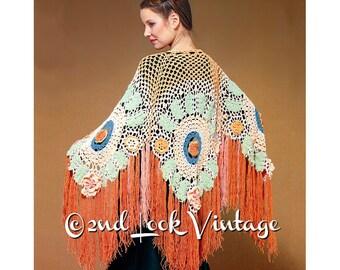 Vintage Crochet Pattern 1970s Flower Fringe Shawl Bohemian Digital Download PDF