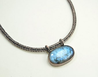 Labradorite Double Viking Knit Necklace in Earth Toned Copper - Aurora Borealis