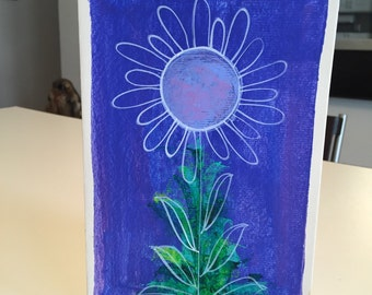 Flower Power Hand Painted OOAK Card By Isabella Isuorch/ Signed