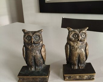 Owl Bookends/ Mid Century Bookends/Brass Bookends/Brass Owls/Owl Statue/What A Hoot/ By Gatormom13
