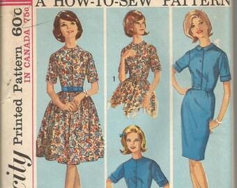 1960s Sheath Slim Dress or Full Skirt Short Sleeves Round Neckline Collar Simplicity 5059 Uncut FF Bust 31.5 Women's Vintage Sewing Pattern