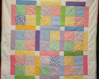 1930's reproduction fabrics baby crib lap quilt
