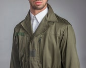 1960's Authentic MILITARY STYLE VINTAGE French Army Olive Green M64 Combat Field Jacket ( Un-Issued)