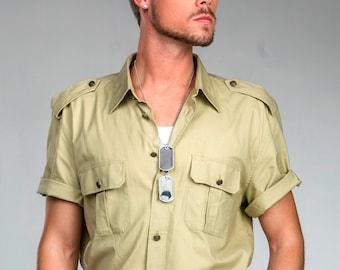 1980's Authentic MILITARY STYLE VINTAGE Italian Army Short Sleeve Safari Style Khaki Shirt (Un-Issued)