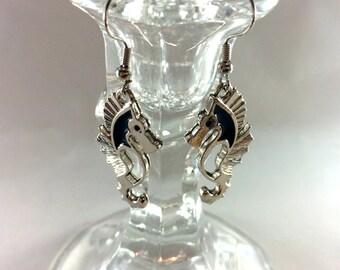 Silvery seahorse earrings