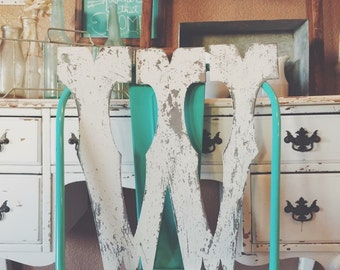 Chippy White 12 INCH tall Cowboy Circus Style  Metal Letter  A - Z & 1 2 3 by Junk Love and Co