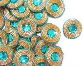 Round Shape Appliques Hand Crafting Blue Patches Designer Sewing Applique Decorative Bullion Royal Beaded Appliques By 12 Pcs/1Dozen APS202A