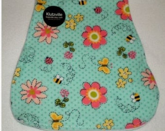 Coral Flowers on Aqua Flannel Burp Cloth