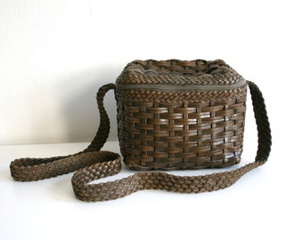 SALE Woven Leather Camera Bag