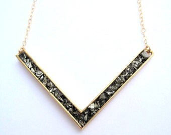 Crushed Pyrite V Necklace Geometric Pendant with Goldfill Chain