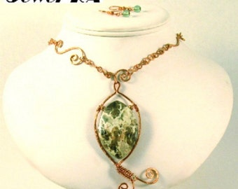 Ocean Agate Asymmetrical Wire Wrapped Pendant Necklace