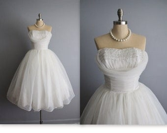 50's Wedding Dress // Vintage 1950's Strapless White Chiffon Shelf Bust Wedding Dress Tea Gown XS