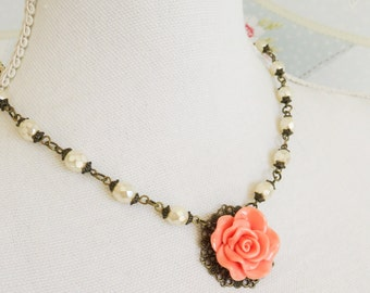 Peach flower necklace, beaded necklace, romantic jewelry, peach and ivory jewelry, floral necklace, bronze jewelry, gift for her, women