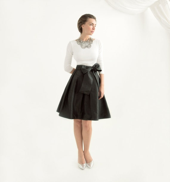 Black Taffeta Skater Skirt - Custom Length - Many Colors