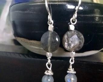 Labradorite Earrings, Bohemian Silver Crystal Earrings