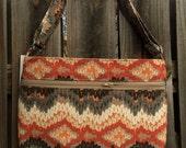 Zipper Pocket Cross Body Bag - Orange, Brown, Gray and Tan Chevron Pattern