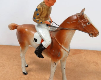 Vintage Lead Jockey on Race Horse Toy, All Nu Company 28, 1938  Number 10