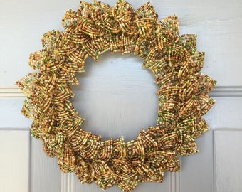 Autumn Blend French Beaded Flower Decorative Wreath (X-Small)