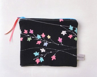 Black Pouch Purse in Vintage Kimono Silk ' Rainbow Leaves'.
