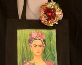 Frida, Colorful Floral, Black Canvas, Tote Bag, Appliqué, Beading