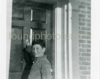 Vintage Photo, Teenage Boy Knocking on Door, Childhood, Black & White Photo, Found Photo, Old Photo, Snapshot, Vernacular Photo