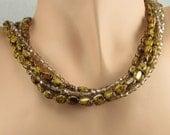 Tortoise Necklace Gold Brown Mottled Multi Strand Sterling Silver