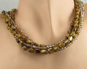 Tortoise Necklace Gold Brown Mottled Multi Strand Sterling Silver