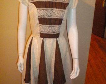 Original Vintage Kate Schorer Square Dance Prairie cotton dress size medium