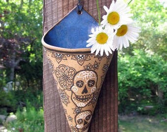 Sugar Skull Wall Sconce - wall pocket flower vase - garden - home decor - day of the dead - air planter